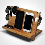 Dock Station Celular Iphone Samsung Motorola Xiaomi Suporte para Celular Organizador de Mesa Midan Madeira Cedro