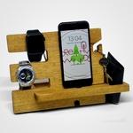 Dock Station Celular Iphone Samsung Motorola Xiaomi Suporte de Celular Organizador de Mesa - Sagir Madeira Tauari