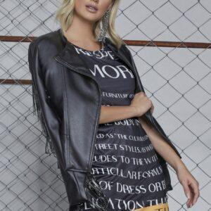 Jaqueta em couro com bordados em franja Luleg