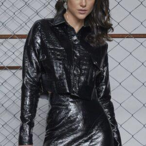 Jaqueta curta croco Luleg