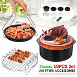 10 Pcs 7 Air Frigideira Cesta de Cozimento Placa de Pizza Grill Pot Mat Set Fit for 3.2-6.8QT Air Fryer