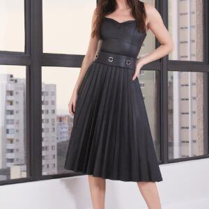 Vestido midi plissado em couro Viber