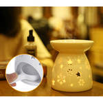 Floco de neve incensário de incensário de óleo essencial de cerâmica oca