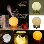 880ML 3D LED luz noturna umidificador de ar lâmpada lunar óleo essencial de aroma#p