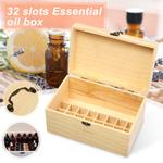 Frasco de óleo essencial de 32 slots, caixa de madeira, perfume e organizador de estojos com alça