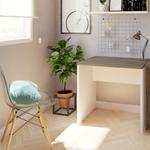 Mesa para Escritório Multiuso 80cmx70cm Corp Bramov Móveis Branco/Ameixa Negra