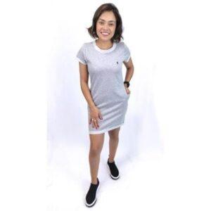 Vestido De Moletinho Lematch Feminino - Feminino-Cinza