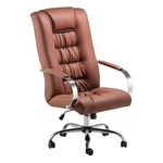 Cadeira de escritório Presidente Aconchego base cromado sintético Havana