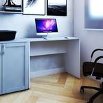 Mesa para Escritório Fini Bramov Móveis Branco/Cinza Cristal