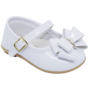 Sapatilha Infantil - Baby Meninas - Branco com Fivela e Laço - Pimpolho