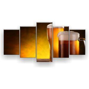 Quadro Decorativo Cerveja Chopp 129X61 5Pc Sala