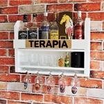 Bar Barzinho Suspenso De Parede Adega Vinhos Bebidas Madeira MDF 60x45cm Cor Branco