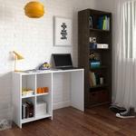 Escritório Completo com Escrivaninha e Estante para Livros Focus III Espresso Móveis
