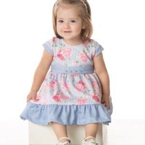 Vestido Bebê Verão Floral e Listra Azul, Com Calcinha - Quebra Cabeça - G - Azul aço