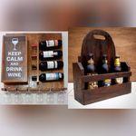 Adega de Parede Para 04 Vinhos Com Suporte Para Taças Quadro Porta Rolhas + Porta Cerveja Artesanal