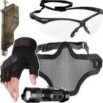 Kit Proteção - Máscara Meia Face Telada + Óculos Nemesis Transparente + Luva Tática Meio Dedo + Acessórios - Cor Preta