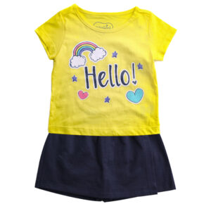 Conjunto Infantil - Estampado - Hello - Amarelo - 100% Algodão - Minimi