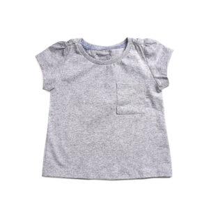 Blusa Infantil - Manga Curta - 100% Algodão - Bolso e Glitter - Rosa e Cinza - Minimi