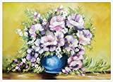 Quadro Natureza Morta Floral com Moldura Vaso de Flores Decore Pronto Multicor 74x54 cm