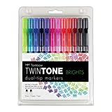 TwinTone Marcadores com Duas Pontas, Estojo com 12 Marcadores, Cores Brights (Vibrantes)