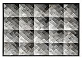 Tapete Em Couro, Desenho Geométrico, Tapecouro, Cinza Nelore 3 Tons