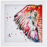Arte Maníacos Quadro Decorativo Elefante Color - 20x20cm (Moldura em laca branca)
