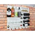 Barzinho Adega Para Sala Aparador De Parede Vinhos Bebidas Madeira MDF 66x64cm Branco