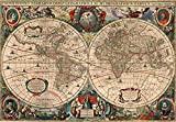 Mapa Mundi Antigo 1641-30x43 - Tela em Canvas Para Quadro