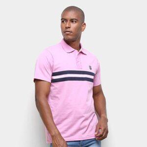 Camisa Polo Suburban Faixa Listra Masculina - Masculino-Rosa