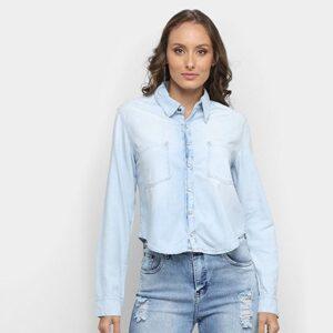 Camisa Jeans Disparate Bolsos Feminina - Feminino-Azul