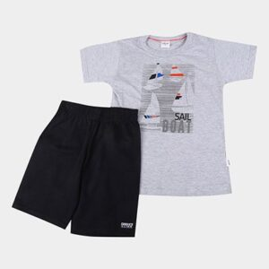 Conjunto Infantil Elian Camiseta E Bermuda Moletinho Sail Boat Masculino - Masculino-Mescla