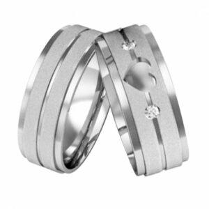 Aliança de Namoro  Diamantadas Coração Vazado 7,5mm