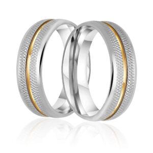 Aliança de Namoro Recartilhada 6mm com 1 fios  de Ouro 18k