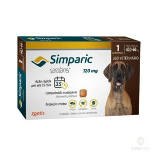 Antipulgas Zoetis Simparic 120mg para Cães 40 a 60 Kg - 1 Comprimidos