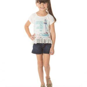 Blusa Infantil Verão Marine - Quebra Cabeça - 8 - Creme
