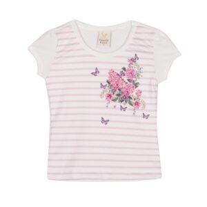 Blusa Infantil Verão Listras E Flores - Gueda - 3 - Branco