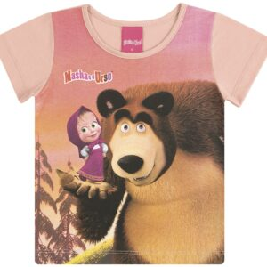 Blusa Infantil Verão Masha E O Urso - Kamylus - 1 - Rosa