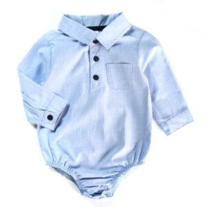 Body Polo Infantil - Manga Longa - Algodão e Poliéster - Chambrey - Azul - Minimi