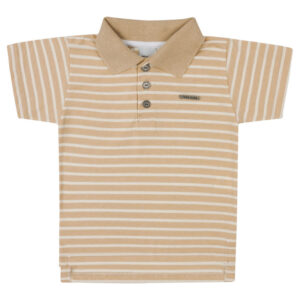 Camisa Polo - Malha Listrada - Bege - Livy Malhas