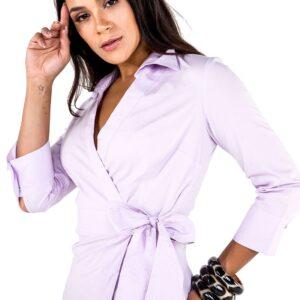 Camisa Feminina com Amarração Lilás