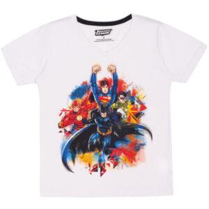 Camiseta Manga Curta - Meia Malha - Estampada - DC Comics - Liga da Justiça - 100% Algodão - Branco - Trenzinho