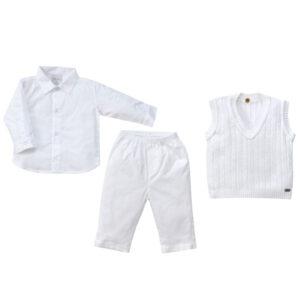Conjunto Masculino Batizado - Calça, Colete e Camisa - Branco -  Tilly Baby