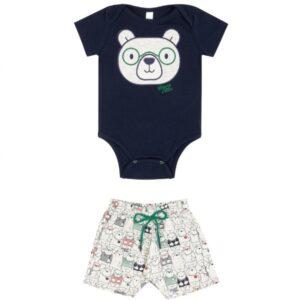 Conjunto Bebê Menino Verão Ursos, 2 peças  - Biogás - M - Azul escuro