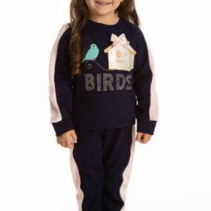 Conjunto Infantil Inverno Pássaros 2 peças - Quebra Cabeça - 3 - Azul