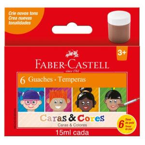 Tinta Guache - Caras e Cores - 6 Cores - 15ml - Faber-Castell