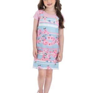 Jardineira Infantil Verão Floral - Gueda - 10 - Azul claro