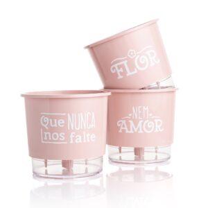 Kit 3 Vasos Autoirrigáveis Pequenos N02 12 cm x 11 cm Flor e Amor Rosa Quartzo
