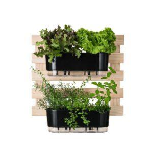 Kit Horta Vertical 60cm x 60cm com 2 Jardineiras Autoirrigáveis Raiz Preto