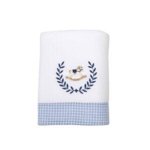 Manta Soft - Barrado e Bordado - Cavalinho de Pau Azul - Biramar