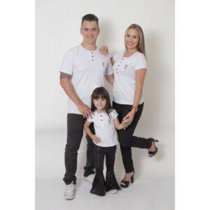 PAIS E FILHA  Kit 3 Peças T-Shirt ou Body Henley - Branca [Coleção Família]